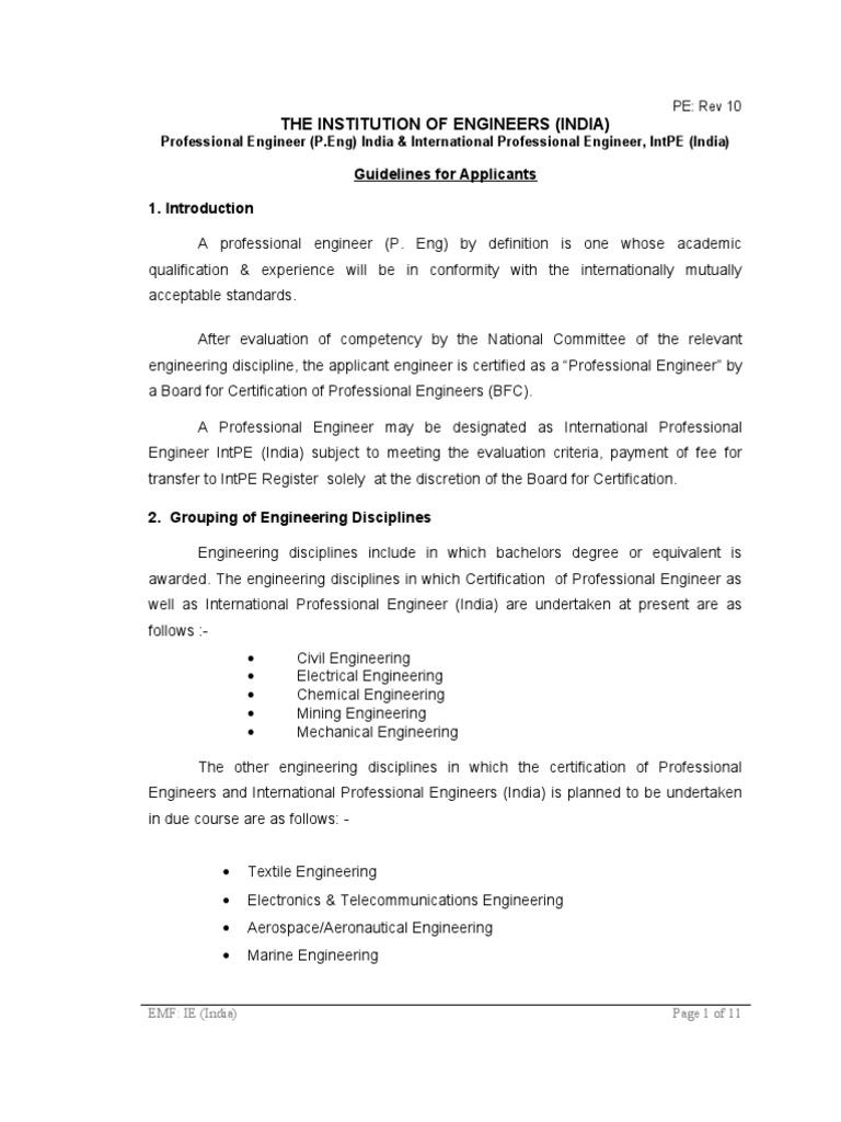 Guidelines For Pe Engineer Engineering