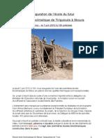 Dossier de Presse - Inauguration de l'école bioclimatique, Skoura, Maroc