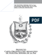 Proyecto Carta Organica Del Municipio de La Paz
