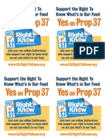Yes on Prop 37 Flyers