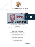 Auditoria Ambiental Rastro Municipal de Tepic