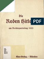 Die Reden Hitlers Am Reichsparteitag 1933 (1934, 27 Doppels., Scan, Fraktur)