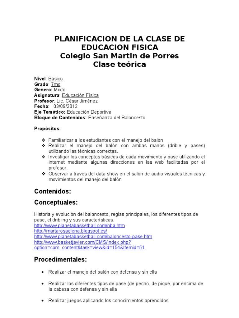 Planificacion de la clase de educacion fisica for Grado medio jardin de infancia