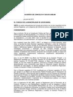 Acuerdo de Concejo.Nº29-2012