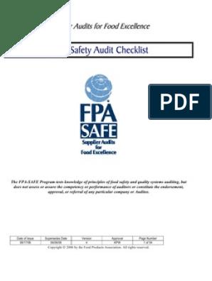 SAFE Food Safety Audit Checklist | Pesticide | Audit