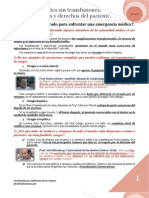 Asistencia médica sin transfusiones. Necesidades y derechos del paciente - Preguntas