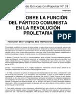 CEP 01 TESIS SOBRE LA FUNCIÓN DEL PARTIDO COMUNISTA EN LA REVOLUCIÓN PROLETARIA