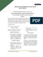 Informe de Ductibilidad, Penetracion y Punto de Ablandamiento en Asfaltos