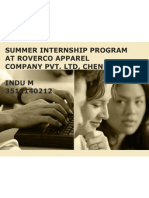 Summer Internship Program at Roverco Apparel Company Pvt