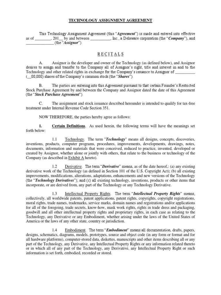 Technology Assignment Agreement - FP | Intellectual Property ...