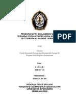 PENGARUH UPAH DAN JAMINAN SOSIAL TERHADAP PRODUKTIVITAS KERJA KARYAWAN DI PT SEMARANG MAKMUR SEMARANG