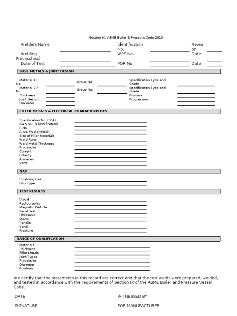 Welder Qualification Record Template