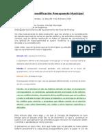Informe Sobre Modificación Presupuesto Municipal 2009
