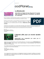 Communiqué de Presse - La Biodiversité - Agenda Utile 2011