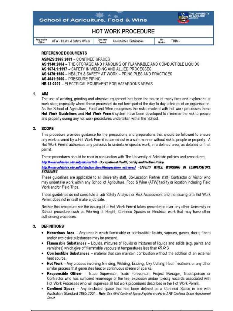 Hot Work Procedures | Occupational Safety And Health | Flammability
