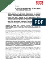SGX-Listed ECS' Announces 2Q12 Net Profit of $8.1M on Revenue of $823.6M