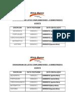 Cronograma de Listas Complementares