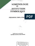 Phénoménologie et institution symbolique