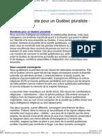 HDA - Manifeste pour un Québec pluraliste - 9 février 2010 - HDA - information et commentaires