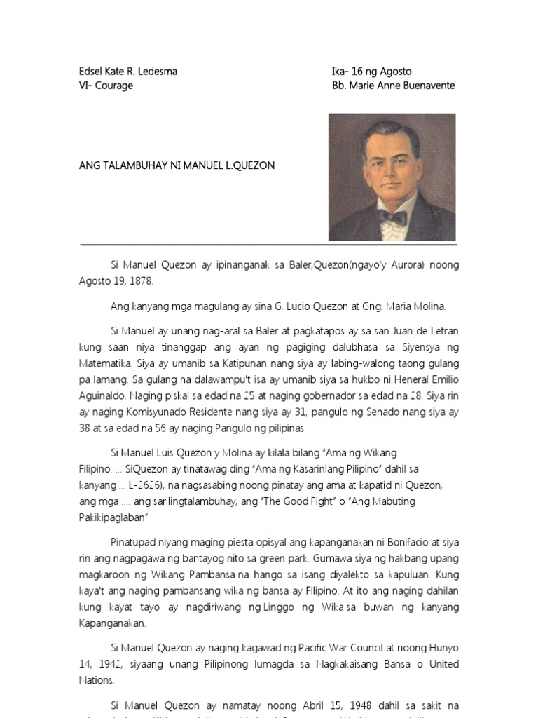 manuel l quezon tagalog essay Instruction, the official languages of the philippines are filipino and, until  by  the middle of the 1930s, manuel l quezon (served 1935-1941).