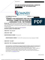 "ROMNEY FOR PRESIDENT AND THE REPUBLICAN NATIONAL COMMITTEE RELEASE NEW SPANISH-LANGUAGE TV AD, ""NO PODEMOS MÁS"""
