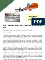 Ideb Paraíba tem nota inferior à média do país