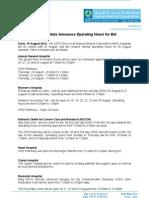 PR en Eid Opening Hours