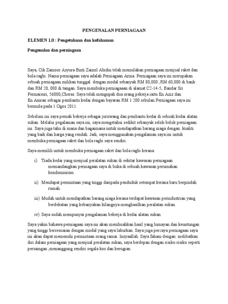 Contoh Pengenalan Perniagaan Kerja Kursus Ting 4 2011