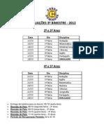 Calendário de Provas 3° Bimestre - 2° ao 5° anos