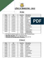 Calendário de Provas 3° Bimestre - 6° ao 9° anos