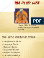 Barriers in My Life