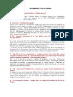 Declaraciones Para La Prensa- FEDIPA