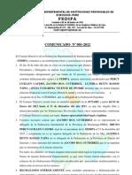 COMUNICADO Nº 01-2012