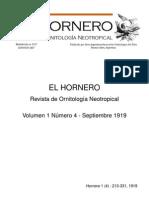 Revista El Hornero, Volumen 1, N° 4. 1919.