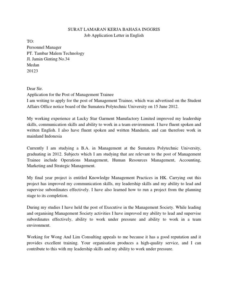 Contoh Surat Lamaran Kerja Management Trainee Bahasa Inggris