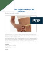 Dieta Para Reducir Medidas Del Abdomen 2012