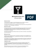 Offizielle Bewertungs-Kriterien Mixology Bar Awards 2013