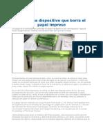 Dispositivo Que Borra El Papel Impreso 2012