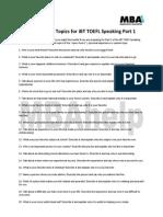 40 New Practice Topics for iBT TOEFL Speaking Part 1
