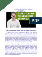 HPG Gerilla Kareketi ve Dersim Milletvekili Hüseyin Aygün üzerine