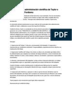 Principios de la administración científica de Taylor e introducción al Fordismo