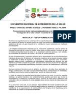 Encuentro Nacional Academicos de La Salud 2012 Doc