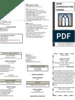 Church Bulletin- August 19th