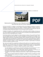 Declaración del Gobierno de la República del Ecuador sobre la solicitud de asilo de Julian Assange
