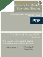 Basic Methods for Making Economy Studies