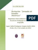 Segunda Circular Invitacion Jornada de Estudios Historicos ULS 2012