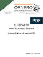 Revista El Hornero, Volumen 7, N° 1. Agosto 1938.