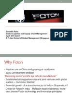Foton Motors_Supply Chain_India Strategy_Saurabh Kalra