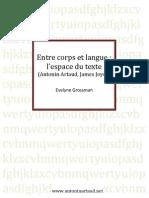 Entre Corps Langue Espace Du Texte Evelyne Grossman