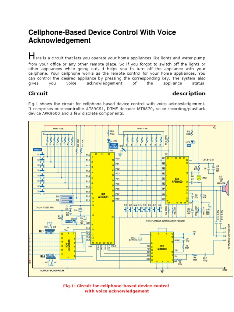 Cellphone Based Device Control With Voice Acknowledgement Recorder And Playback Circuit Electronic Circuits Microcontroller